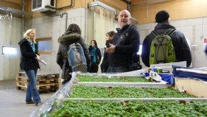 Bei einer Führung durch den Betrieb erhalten wir Informationen zur Lagerung der Lebensmittel.
